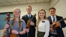 Sorella Wood is the Cellist, she is in my district, Anziano Payne is the violinist, he is my roommate, and Sorella Evans is the pianist, she is going to Milan but is in my zone. Also Sorella Evans was in my mission prep class and my honors class at byu