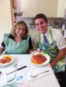 My comp. Anziano Hansen and Sorella Spadafora with the lasagna we made
