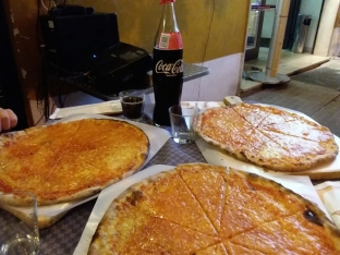 Some real Pizze Margherite (which is the real plural for Margherita pizzas, which is also the real name for cheese pizza) we ate with an investigator