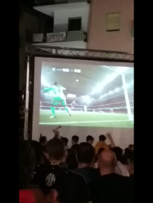 They set up a broadcast of the Real Madrid/Juventus final. This was a sick bicycle kick goal that happened about 20 min in. Soccer is like one of three things Italians all love
