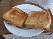 Homemade Puccie, a Puccia is a kind of sandwich from the south of Italy, it is essentially a grilled sandwich with sliced prosciutto, mozzarella, and mayo.
