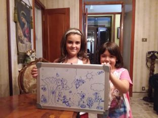 Two girls in a family we teach English to. We drew a picture together and taught them the words