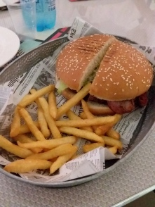 "An ""American style ham-burger"" from a cool place in Palermo, it was actually pretty close to the real deal"