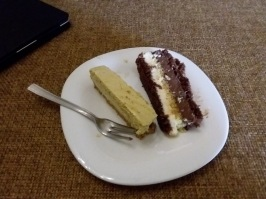 Some dolce our branch president made, a pistacchio mouse and a cream cake thing